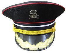 Cappello Militare Cotone Nero con finiture oro e teschi in metallo 59 cm