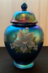 Fenton Aurene, Hand Painted, Ginger Jar