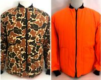 Vtg SafTBak Hunting Jacket Reversible Blaze Orange/Camo USA-Made Large