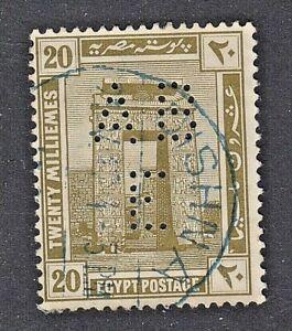 EGYPT 1914, Pylon of Karnak and Temple of Khonsu: AB/E PERFIN Cancelled (DISHNA)