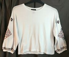 New Look - Top - Size 8 - White - Jersey Blouse - Embroidery - Boho Peasant - H