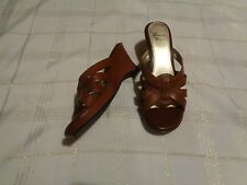 white mountain brown leather strappy wedge heels shoes size 10