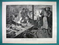 HUNTERS Gather in Cabin for Dinner - VICTORIAN Era Print