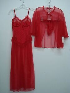 USA Made Nancy King Lingerie 3 Piece Set Gown G-String Jacket Size S Red #878Q