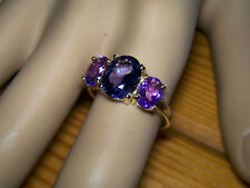 9ct Yellow Gold Amethyst & Rose De France Ring Size N