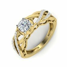 0.75ct VS - F Moissanite With Natural Diamond Halo Engagement Ring  in Gold