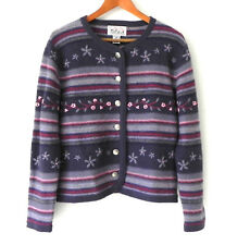Tally-Ho Cardigan 100% Wool Multi-Color Embroidery Button front Size PM