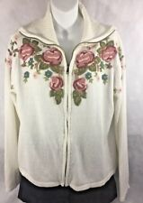 WINTER WHITE ZIPPERED FRONT WOMEN'S SWEATER EMBROIDERED STYLE FLOWERS