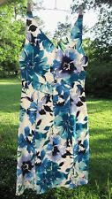 CHAPS Size 6 Sundress Sleeveless Blue White Purple Hibiscus Cotton Lined Stretch