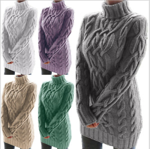 UK Women Turtle Neck Chunky Knitted Sweater Jumper Winter Warm Long Pullover Top