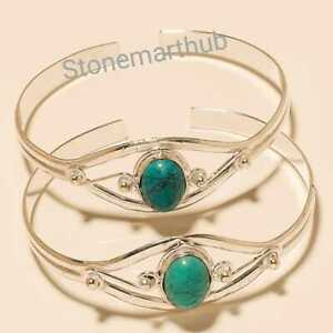 Turquoise Cufflinks Turquoise Bangle Silver Overlay 2p Bracelets Handmade Cuff