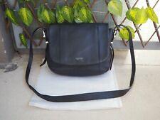Bag / Sac gibecière noir Le Tanneur, modèle Capucine, cuir grainé