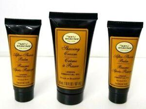 3 pcs ART of SHAVING Lemon Essential Oil Shaving (1/Cream, 2/Balm) TRAVEL SIZE