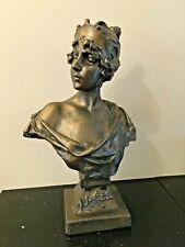 Art Nouveau Style Lucrece Villanis Female Chalk Ware Bust
