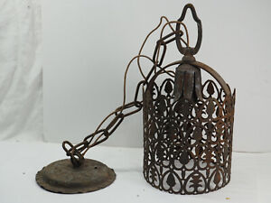 Vintage Metal hanging Light copper pierced design swag light Electrified rustic