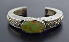 """Vintage Navajo Signed Eddie Chaco 925 Sterling Silver Turquoise Cuff Bracelet 6"""""""