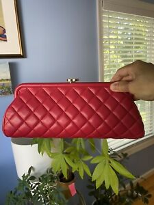 Chanel Timeless Clutch Lambskin Red Bag