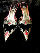 Donald Pliner Black Velvet With Red & Silver Metallic Design Shoes FREE SHIPPING