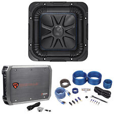 """Kicker 44L7S8-2 8"""" 450 Watt Solobaric L7S Car Subwoofer+Mono Amplifier+Amp Kit"""