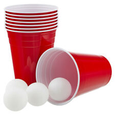 Vaily Red Cups Partybecher Rot 50 Stück + 6 Bälle 473ml/16oz für Bier Beer Pong