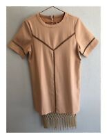 Womens Designer Endless Rose Dusty Beige Tassel Dress Size 8-10 AUS