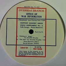 Anna Rencova & David Stirmer - Outpost Concert Series No 3 LP VG No 13 4649