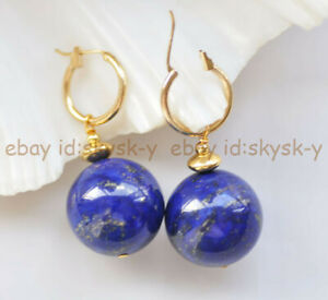 20mm Natural Blue Lapis Lazuli Round Beads Dangle Gold-plated Leverback Earrings