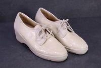 C1311 Dresjan Schier Schuhe Schnürschuhe Leder creme Gr. 37 4,5K Wechselfußbett