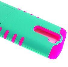 For LG K7 / Tribute 5 - Hybrid Impact Armor Kickstand Phone Case Mint Green Pink