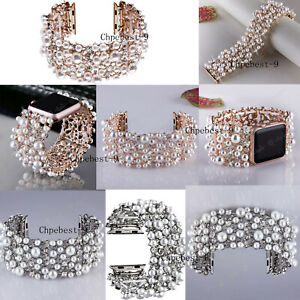 Pearls Bling Rhinestone Diamonds Watch Band Strap For Apple Watch Iwatch 38 44MM