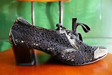 ALL BLACK Anthropologie crochet oxford heels steampunk leather egl lolita 6.5