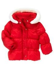 GIRLS 4T-5T GYMBOREE COZY CUTIE WASHABLE WHITE FAUX FUR RED PUFFER JACKET HOODED
