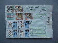 ITALY, parcelpostcard rembourse1994, mixed franking ao Olympic Games block of 4
