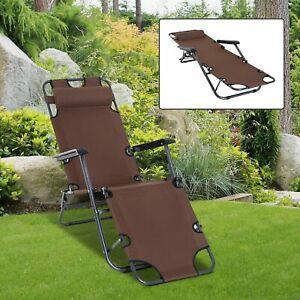 Outsunny Outdoor Garden 2in 1 Folding Recliner Sun Lounger Chair Brown