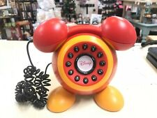 Vintage Disney Mickey Mouse Telephone Red Yellow Push Button DPH8020C