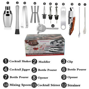 Cocktail Shaker Accessories Bartender Set Barware Bar Mixing Making Kit with Box
