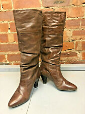 Dune Denver Slouch Mid Heel Pull On Boot - Brown Size 40 UK 7 Winter