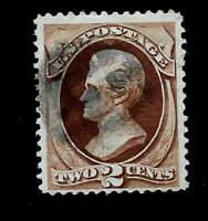US 1870 Sc# 135  2 c JACKSON Used - Crisp Color - Centered - GEM