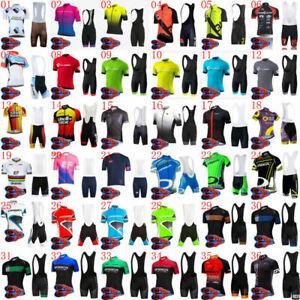 Mens Cycling Short Sleeve Jersey Bib Shorts Suit Summer Team Bike Uniform