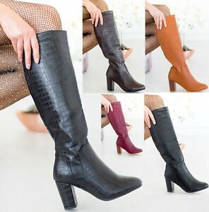 LADIES WOMENS HIGH BLOCK CHUNKY HEEL BOOT ZIP MID CALF CROC SHOES BOOTS SIZE 3-8