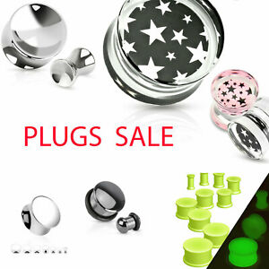 Plug Sale Acrylic Metal Silicone o-Ring Ear Piercing Flesh Tunnel Various Art