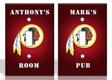 PERSONALIZED Washington Redskins Light Switch Covers NFL Football Home Decor