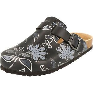 Supersoft Damen Schuhe 276-155 Clogs Hausschuhe Lederfußbett Schwarz Blumen NEU