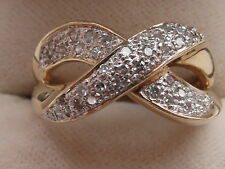Q94 Ladies 9ct gold 3/4 carat vs2 Diamond cross over dress ring size Q