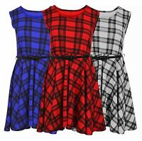 Women Ladies Sleeveless Belted Tartan Check Print Skater Flared  Dress Top 8-26