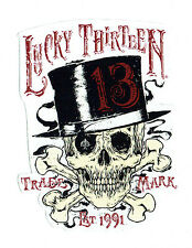 lucky 13 sticker Skull Tophat Hot Rod Drag Race Skull Tattoo