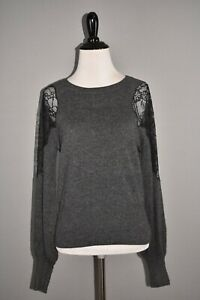 TANYA TAYLOR NEW $395 Cora Lace Inset Wool Cashmere Sweater Charcoal Small