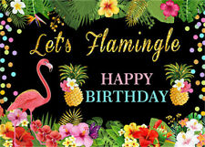 Happy Birthday Flamingo Floral Frame Backdrop 7x5ft Vinyl Photography Background