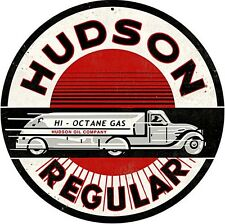 Hudson Regular Gasoline steel sign  360mm diameter  (pst)
