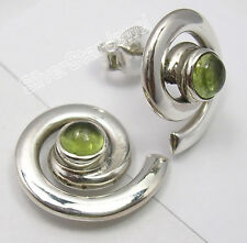 "Beautiful GREEN PERIDOT Gem, 925 SOLID Silver SPIRAL STUDS POST Earrings 0.6"""